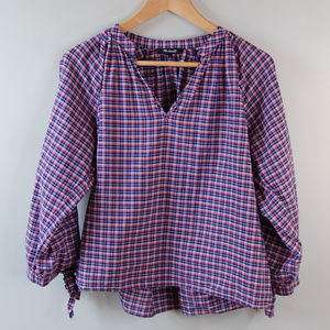 {Madewell} Plaid Tie Sleeve Popover Top Size Large